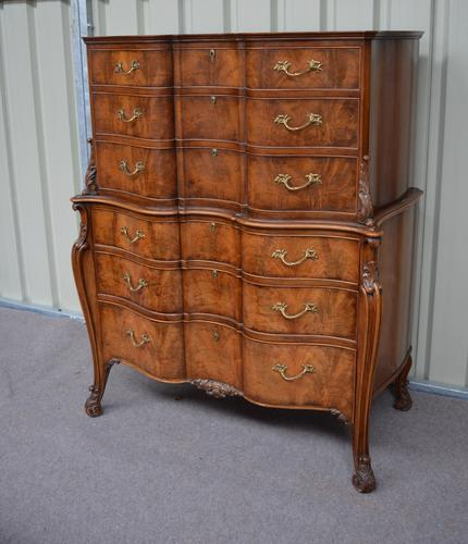 Rare Walnut Serpentine Chest on Chest Hille of London c.1930 (1 of 1)