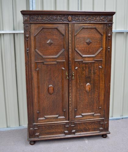 Antique Jacobean Carved Oak Wardrobe c.1900 (1 of 1)