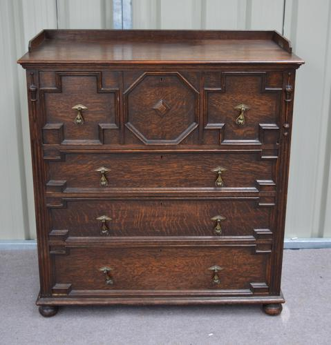 Antique Jacobean Style Carved Oak Chest of Drawers c.1900 (1 of 1)