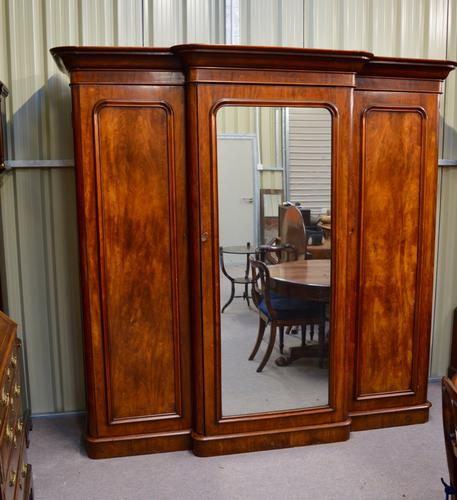 Victorian Mahogany Breakfront Wardrobe Compactum Triple Wardrobe (1 of 1)