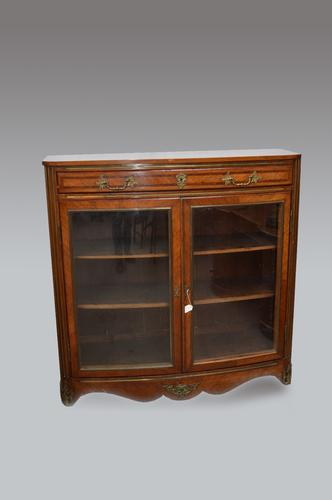 Antique French Bow Front Bookcase Cabinet c.1890 (1 of 1)