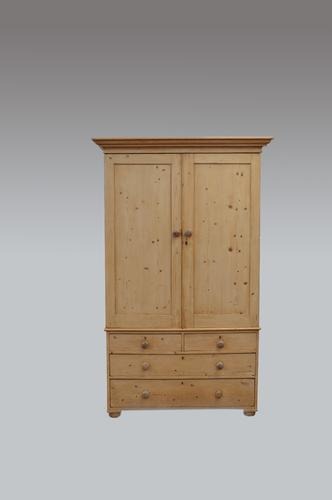Antique Victorian Pine Linen Press (1 of 1)