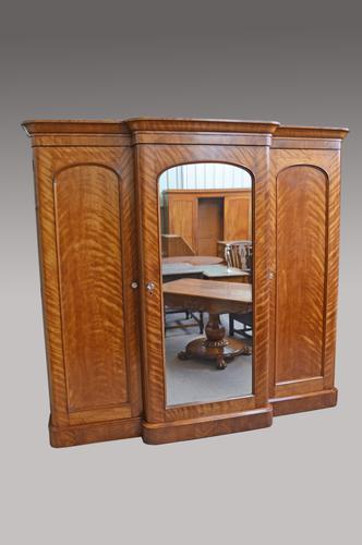 Antique Victorian Satin Birch Breakfront Triple Wardrobe (1 of 1)