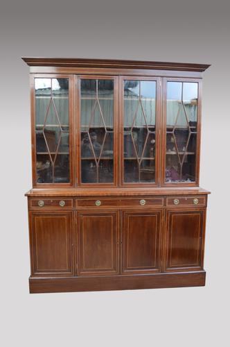 Large Antique Mahogany Library Four Door Bookcase (1 of 1)