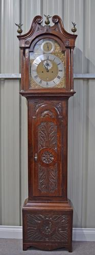 18th Century Carved Oak Grandfather Clock (1 of 1)