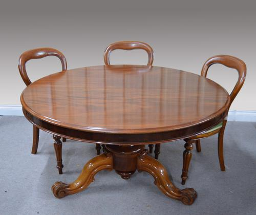 Large Round Circular Antique Victorian Mahogany Dining Table (1 of 1)