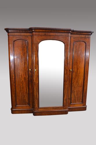 Antique Victorian Mahogany Breakfront Wardrobe (1 of 1)