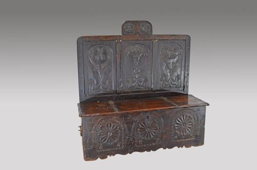 17th Century Carved Oak Marriage Box Settle (1 of 1)
