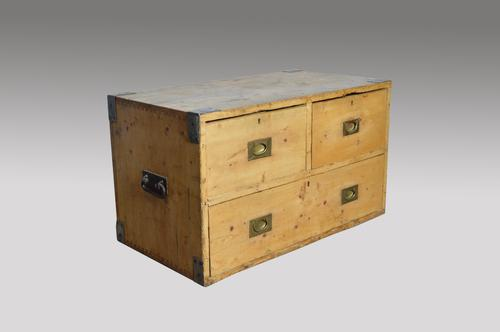 Victorian Pine Campaign Chest Coffee Table (1 of 1)