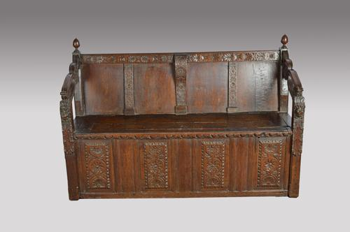 18th Century Carved Oak Box Settle Hall Seat Monks Bench (1 of 1)
