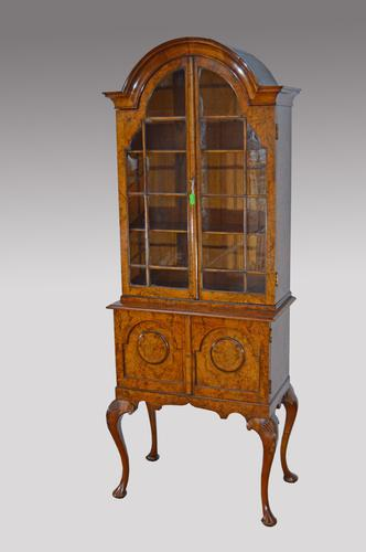 Walnut Queen Anne Style Dome Top Cabinet Bookcase c.1900 (1 of 1)