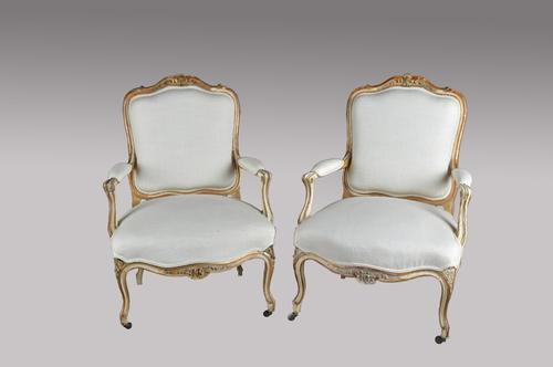 Pair of 19th Century French Louis Style Fauteuils Armchairs (1 of 1)