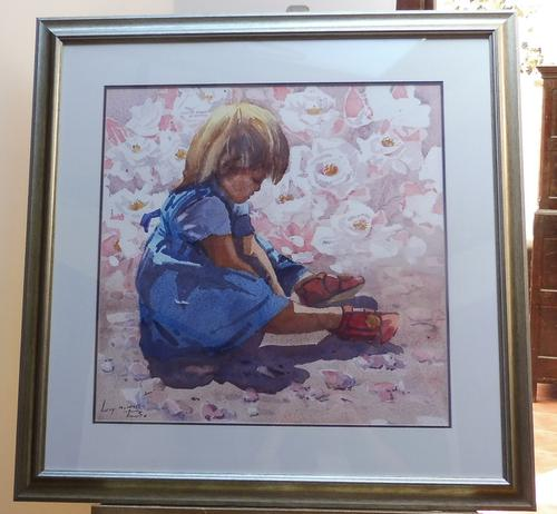 Large Watercolour Portrait Listed South African Artist Lucy M Wiles (Free Shipping to Mainland England) (1 of 8)