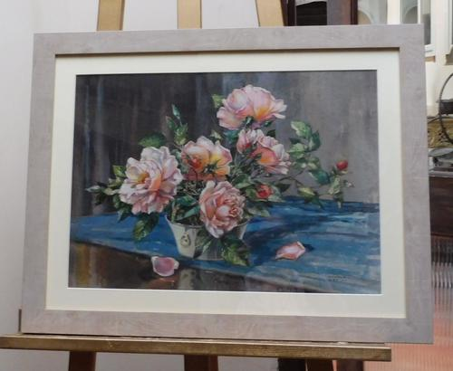 Watercolour Pink Roses Listed Artist Donald Greig FRSA RSMA (Free Shipping to Mainland England) (1 of 7)