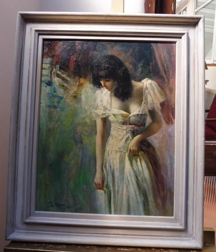 Oil on Canvas Portrait of a Young Girl Royal Academy Artist John Streven (Free Shipping to Mainland England) (1 of 9)