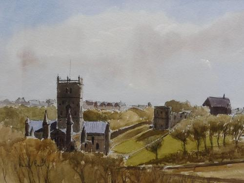 Watercolour & Ink St Davids Cathedral 1970s Listed Artist Ronald Birch (Free Shipping to Mainland England) (1 of 8)
