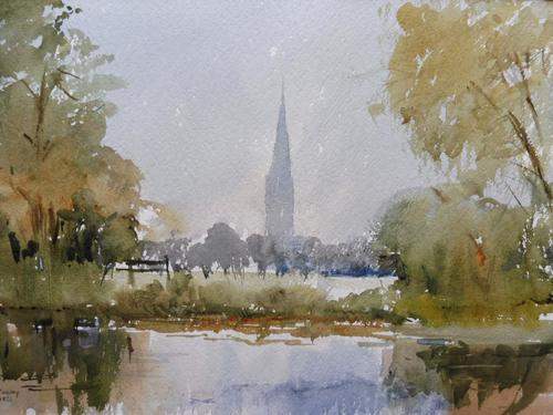 Watercolour Meadows Around Salisbury Cathedral Listed Artist John Powley Wapping Group of Artists (Free Shipping To Mainland England) (1 of 10)