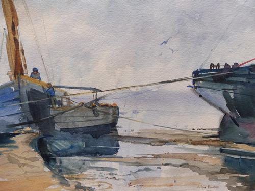 Watercolour Seascape Boats Listed Artist John Powley (Free Shipping to Mainland England) (1 of 10)