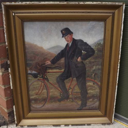 Gilt Framed Oil on Canvas Painting of a Postman by J.J. Cole (1 of 7)