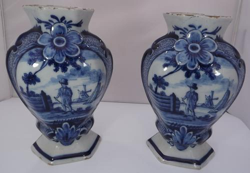 Pair of 19th Century Delft Pottery Blue & White Vases (1 of 8)