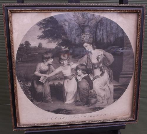Framed C18th Engraving 'A Lady and Her Children' (1 of 10)