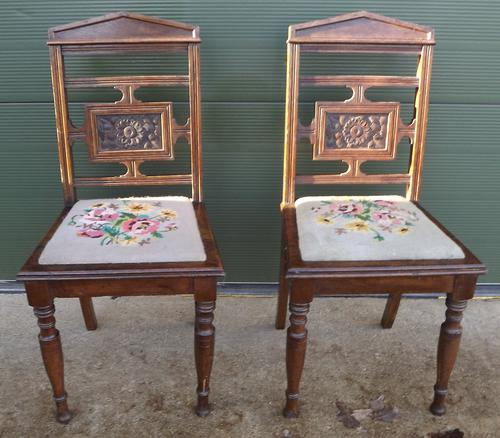 Pair of Antique Victorian Oak Hall Chairs (1 of 8)
