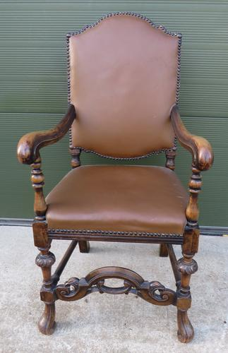 Oak-Framed Leather Upholstered Armchair (1 of 10)