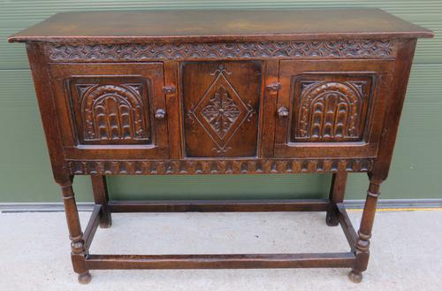 Solid Oak Small Sideboard in the Jacobean Style (1 of 8)