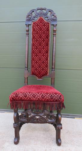 18th Century Carved Walnut High-Back Hall Chair (1 of 8)