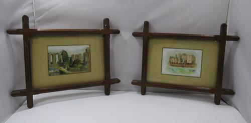 Pair of Antique Victorian Framed Paintings on Porcelain of Kenilworth Castle (1 of 6)