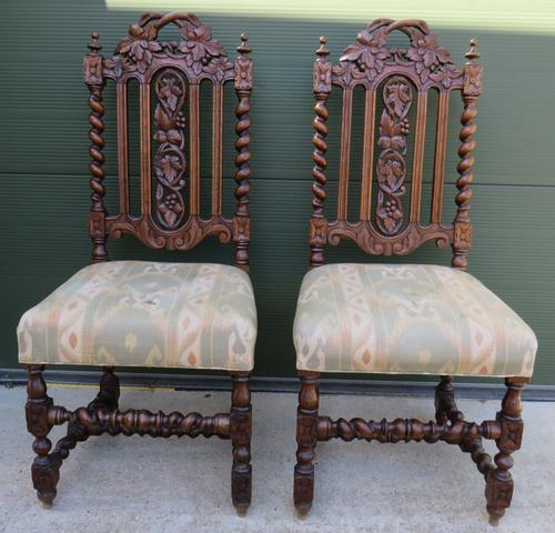 Pair of Victorian Carved Oak Hall Chairs (1 of 7)