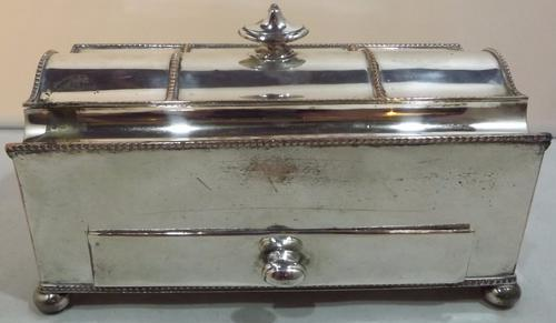 19th Century Silver Plated Serpentine Desk Stand (1 of 1)