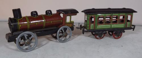 German Tinplate Train & Carriage Penny Toy c.1910 (1 of 1)