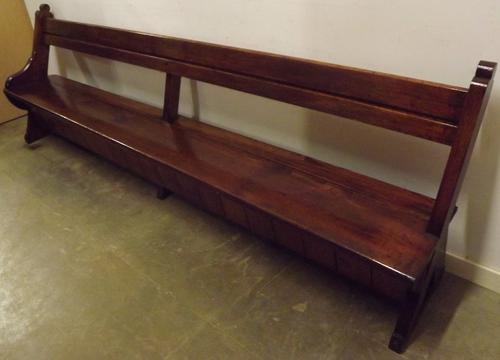 Victorian 9ft Solid Pitch Pine Church Pew Bench c.1860 (1 of 1)
