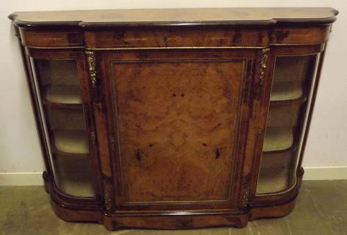 Victorian Burr Walnut Inlaid Credenza with Brass Mounts C.1860 (1 of 1)