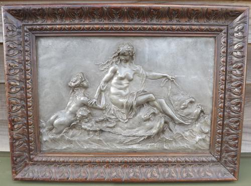 Antique Framed Clodin Classical Relief Work Plaque (1 of 1)