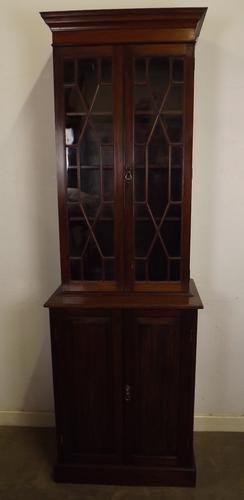 Victorian Astral-Glazed Slim Mahogany Bookcase (1 of 1)