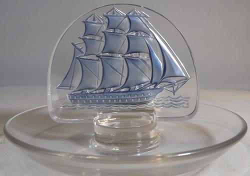 Vintage Lalique Clipper Ship Pin Dish Blue Colour (1 of 1)