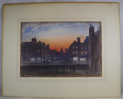 Victorian Watercolour 'Tavistock - Evening' by Reverend Dr R. Philip (1 of 1)