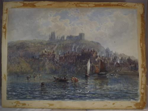 Victorian Harbour Watercolour Painting, Signed M.W. 1879 (1 of 1)