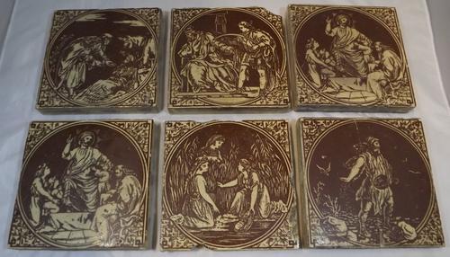 Set of 6 Victorian Minton, Hollins & Co. Biblical Tiles C.1880 (1 of 12)