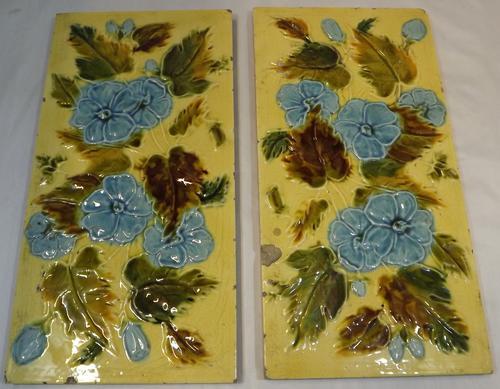 Pair of Victorian Majolica Rectangular Tiles (1 of 1)