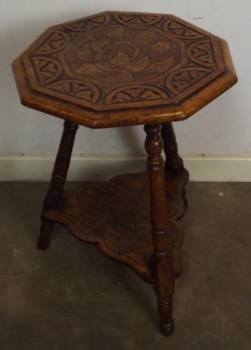 Victorian Carved Oak James Shoolbred Side Table C.1890 (1 of 1)