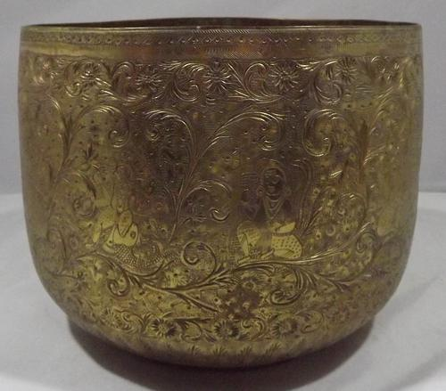 Vintage Brass Planter Engraved with Hindu Deities (1 of 6)