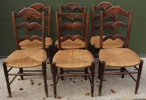 Set of Six Oak Rush-Seated Chairs (Needs Tlc) (1 of 1)
