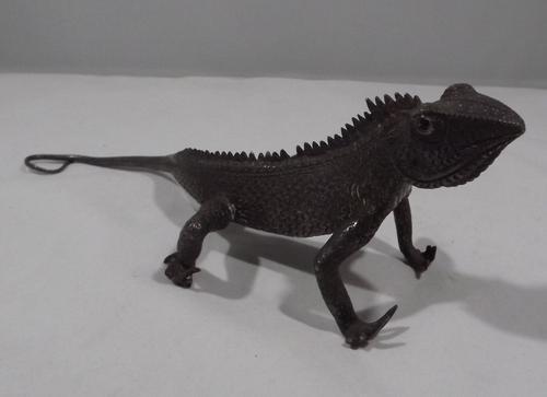 Antique Cast Metal Chameleon Lizard (1 of 1)