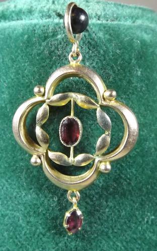 Art Nouveau 9ct Rose Gold & Garnet Pendant (1 of 1)
