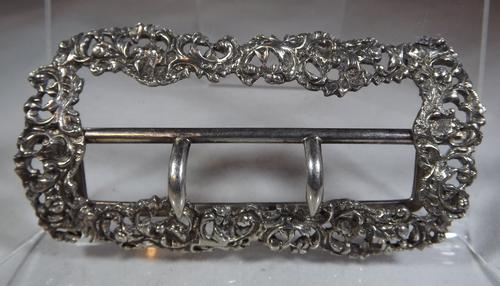 Victorian Sterling Silver Decorative Belt Buckle (1 of 1)