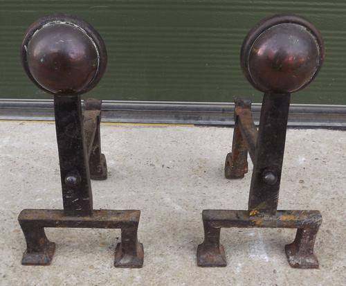 Pair of Arts & Crafts Copper & Iron Fire Dogs (1 of 1)