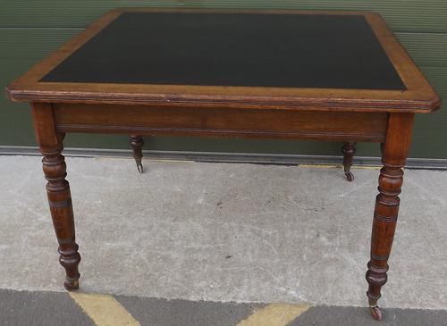 Victorian Oak Leather-Topped Library Table by Trapnell & Gane (1 of 1)